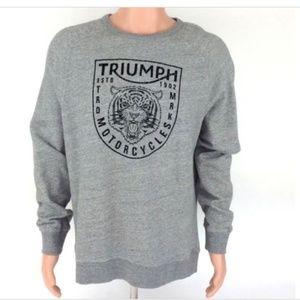 Lucky Brand Gray TRUIMP Motorcycle Sweatshirt L